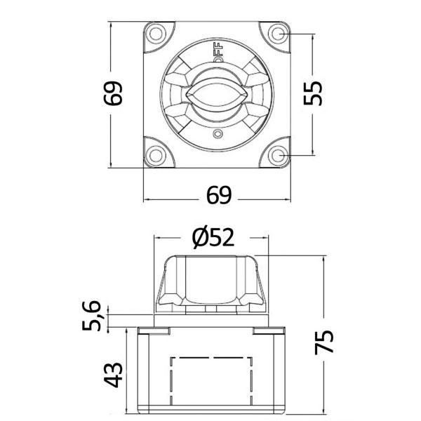 Deviatore batteria compatto misure