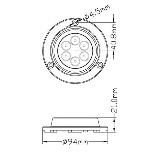 Faretto subacqueo Power LED Round Inox 18W misure