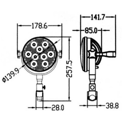 Faro impermeabile orientabile EYE Power LED misure