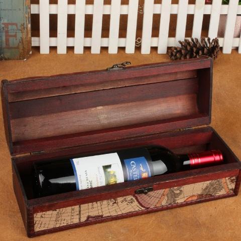 Scatola per bottiglia legno mappa