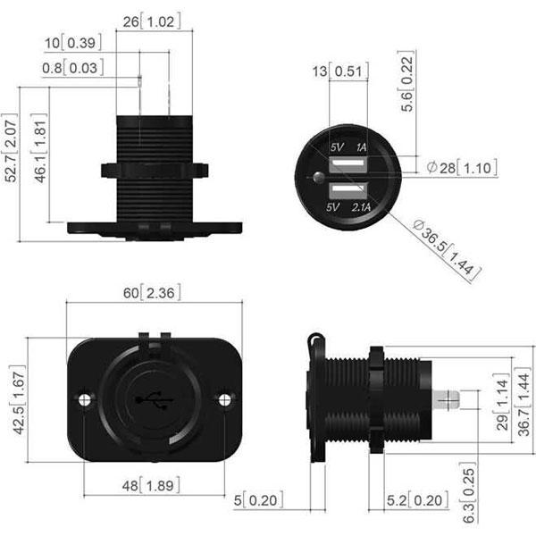 Spine e prese tipo accendino e USB misure