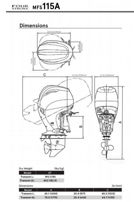 Tohatsu MFS115 misure