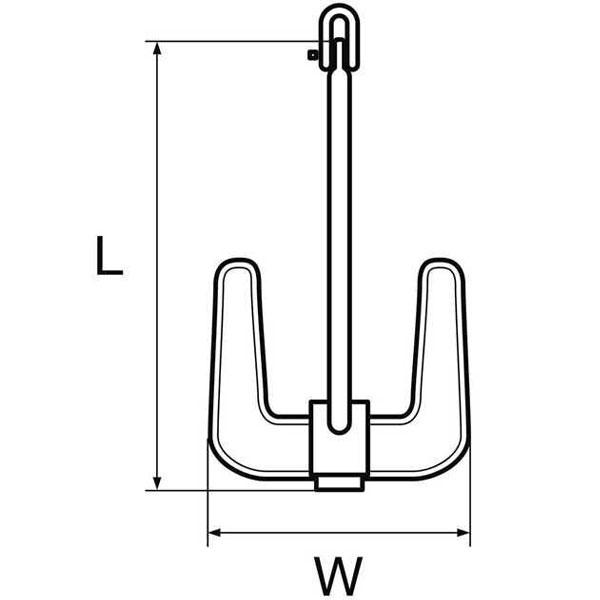 Ancore tipo Hall 2 punte Zincata misura