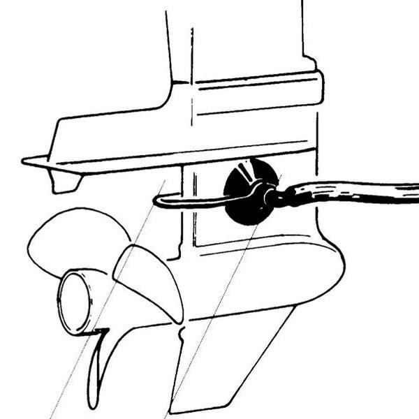 Cuffia per accenzione e lavaggio motori marini disegno