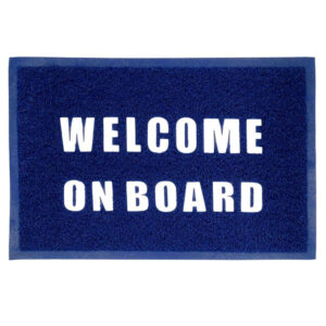 Tappeto zerbino welcome on board in pvc blu