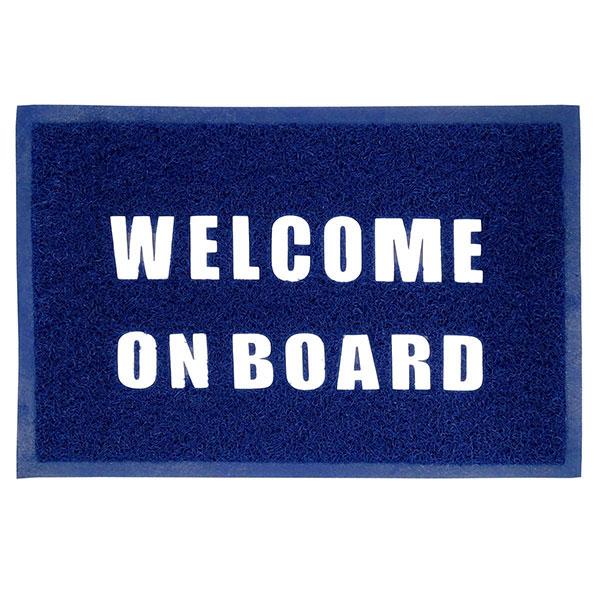 Tappeto zerbino welcome on board in pvc blu